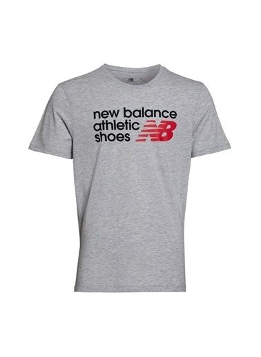New Balance Erkek  Tişört 45396 Gri